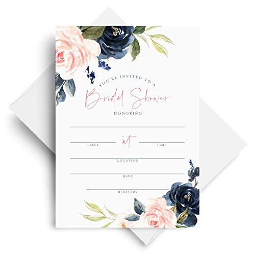 Floral Invite - Bliss Paper Boutique 25 Bridal Shower Invitations with Envelopes - Navy, Pink, Coral and Greenery Watercolor Floral Fill-in Style invites (25 Pack)