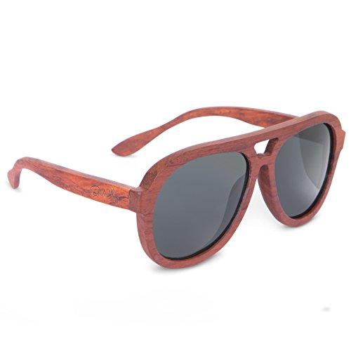 Brazilian Rosewood Polarized Aviator Sunglasses: Classic Driving Glasses with Free Bamboo Wood Case by Emolly