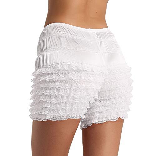Freebily Women's Adult Shiny Silky Ruffled Lace Hem Panties Pettipants Dance Shorts Bloomers Underwear White Large - Ruffled Bloomers Lace