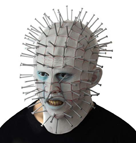 NECHARI Men's Novelty Halloween Costume Party Latex Pinhead Mask Cosplay Costume Accessory -