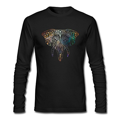 D8v5 Shirts Elephant Colortone Men's Casual Tee Crew Neck Long Sleeve - Los Colortone Angeles