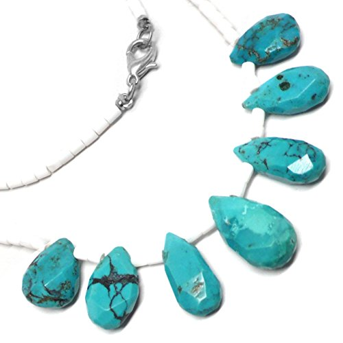 Turquoise Teardrops White Shell Hishi Necklace 20 Inches