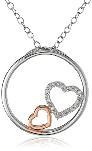 Sterling Silver with Rose Flash Diamond Double Heart in Circle Pendant Necklace, 18