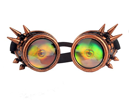 Kaleidoscope Rave Rainbow Crystal Lenses Steampunk Goggles Spike Halloween (One Size-Adjustable head band, Red (Halloween Eye Safety)