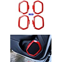 FMtoppeak Red 4 Pcs Interior Decoration ABS Door Speaker Trim Radio Ring Audio Outlet Frame Cover For 2014 UP Jeep Renegade