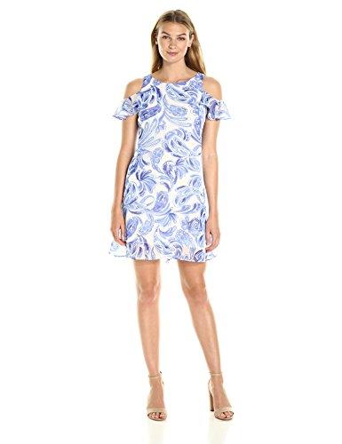 Jessica Howard Women's Cold Shoulder Trapeze Dress, White/Blue, 16