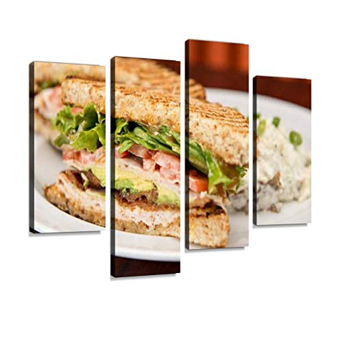 Turkey BLT Sandwich Canvas Wall Art Hanging Paintings Modern Artwork Abstract Picture Prints Home Decoration Gift Unique Designed Framed 4 Panel