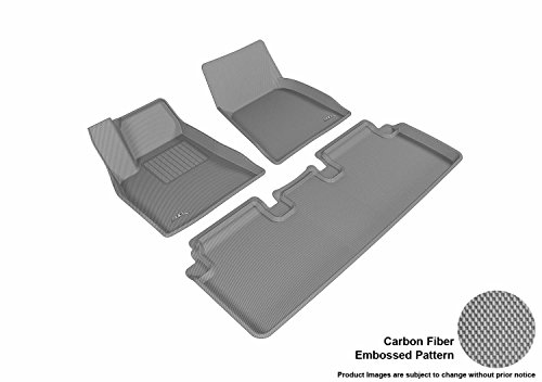 3D MAXpider Complete Set Custom Fit All-Weather Floor Mat for Select Tesla Model S Models - Kagu Rubber (Gray)