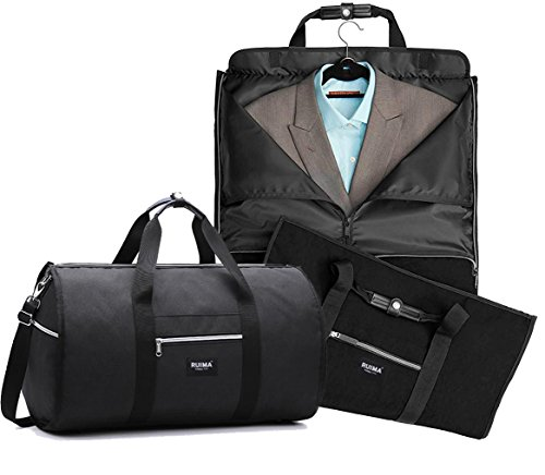 RUIMA Travel Garment Bag With Pocket, Mens Garment Bag Folding Design For Business Trip Or Other Formal Occasion. Hanging Garment Bag & Carryon Garment Bag Two-In-One (BLACK) by RUIMA