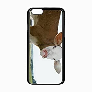 iPhone 6 Black Hardshell Case 4.7inch snout cow ears grass Desin Images Protector Back Cover