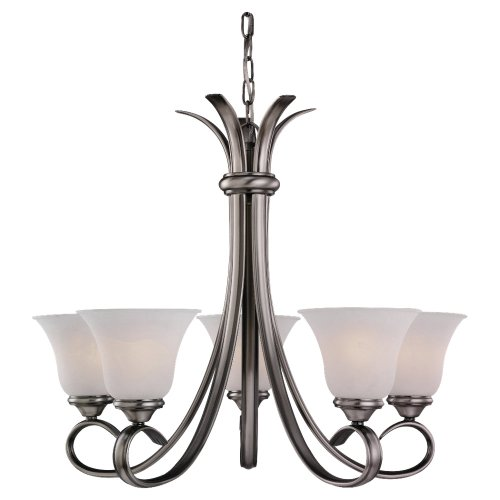 Sea Gull Lighting 31361-965 Five-Light Rialto Chandelier with Etched White Alabaster Glass Shades, Antique Brushed Nickel Finish ()