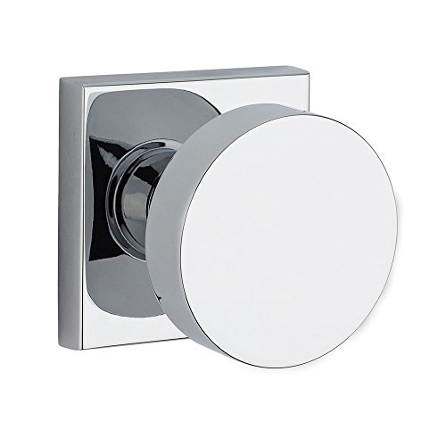 Baldwin PS.CON.CSR Modern Passage Door Knob Set with Modern Square Trim from the, Polished Chrome ()