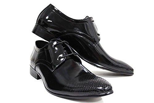 Véritable Cuir Chaussures Hommes Noires Verni Brillant Lacet Ciselé Imprimé 7 8 9 10 11