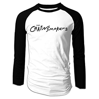 Eowlte The Chainsmokers Men's Raglan Long Sleeve Athletic Casual Baseball Tshirt Black XXL