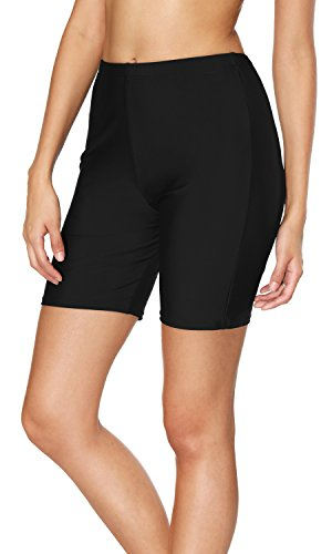 Sociala Womens Long Swim Shorts High Waist Swimsuit Bottoms Bike Short L Black