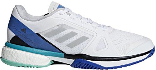 Adidas Shoes Tennis Barricade (adidas Women's aSMC Barricade Boost White/Stone/Ray Blue 8 B US)