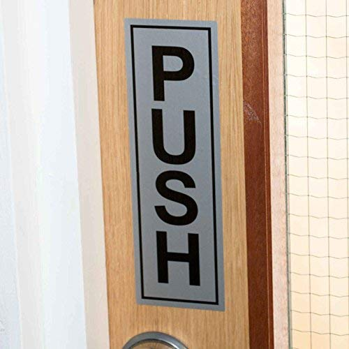 Push and Pull Door Signs 190x60mm Access Awareness Safety Silver Self-Adhesive Vinyl Stickers 5 Sets