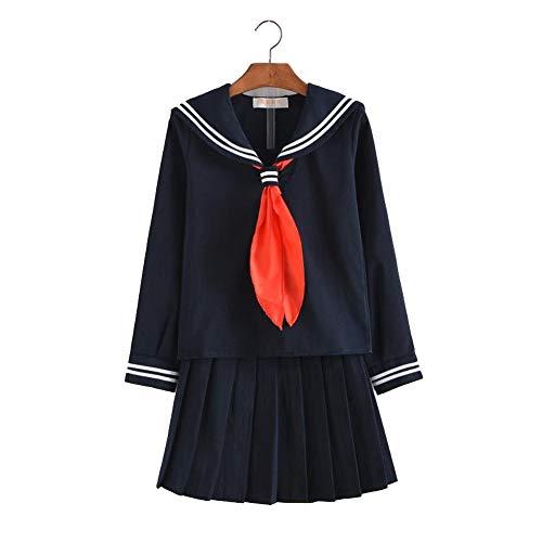 Japanese School JK Uniform Cosplay, Women Girls Halloween Anime Sailor Costume suit black (Navy blue,Asian -