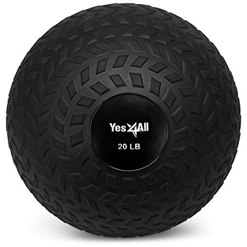 Yes4ll 20 lbs Slam Ball for Strength and Crossfit Workout - Slam Medicine Ball (20 lbs, Black)