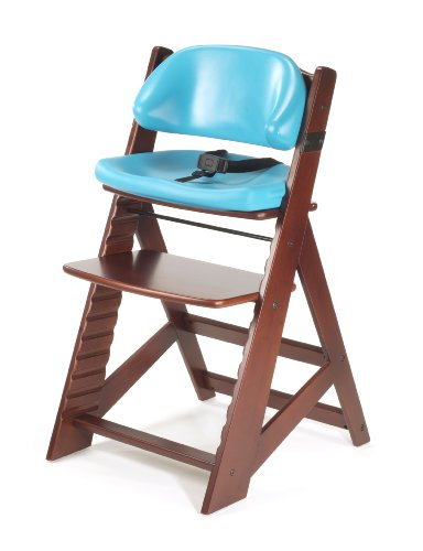 Keekaroo Height Right Kids High Chair with Comfort Cushions, Mahogany/Aqua