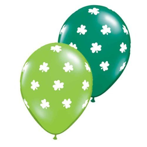 Shamrock Jewels - Qualatex Big Shamrocks 11 Round Balloons, Lime and Emerald Green Jewel -- Pack of 20 by Qualatex