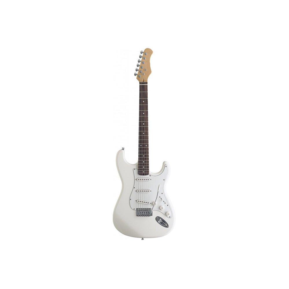 Rocket Music EGS44WH - Guitarra eléctrica (pastillas magnéticas de bobinado simple, puente trémolo), color blanco: Amazon.es: Instrumentos musicales