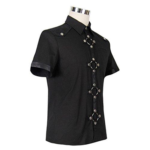 Devil Fashion M?nner Steampunk Heavy Metal Rock Kurzarm Shirt Gothic T-Shirt Bluse Casual Tops, 6 Gr??en
