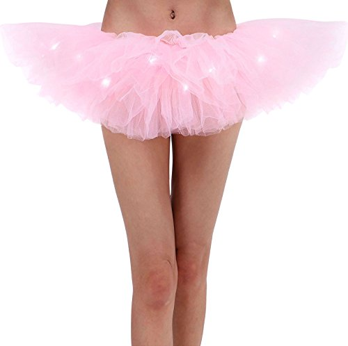 Child Tutu Light Up (Women LED Light Up Tutu Skirt 5 Layered Tutu Party Skirts for Girls By YYKIT (PINK))