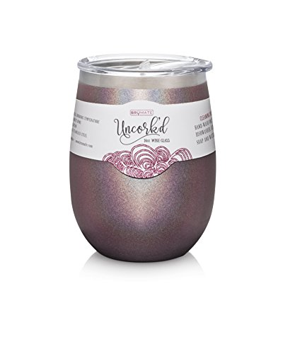 BruMate Uncork'd Insulated Stainless Steel Wine Glass 14oz (Glitter Merlot) by BruMate