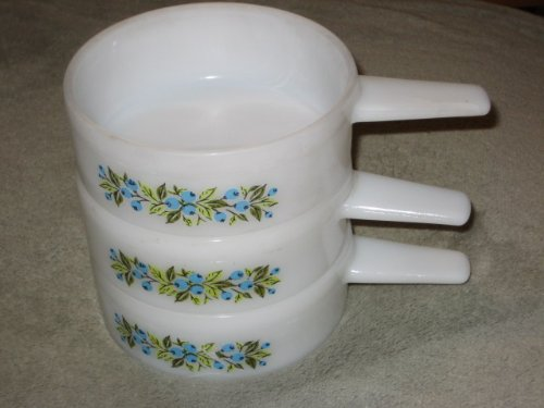 SET OF 3 - Jeanette Milk Glass BLUE BERRY PATTERN 14 oz. Handled Soup Crock Open Casserole Dishes J-2639 (Glass Jeanette Patterns)
