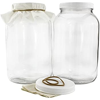 Two 1-Gallon Glass Kombucha Jars w/ Cotton Cloth Covers & Plastic Lids for Storage after Brewing (2-Pack)