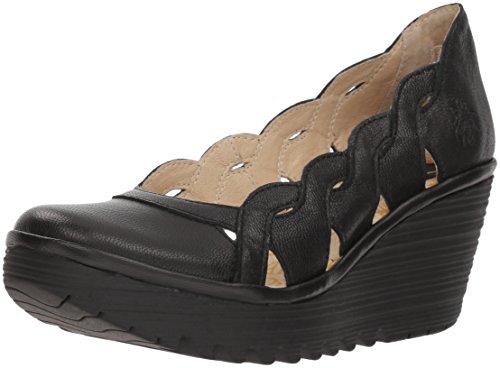 Tacón Yelk835fly con London Negro Zapatos Cerrada Fly de Mujer Punta Black para ZO6wqx