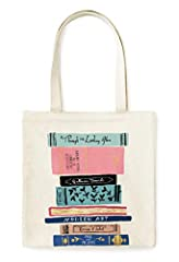 kate spade new york® Canvas Book Tote Lightweight & Durable Tote bag measures 14 inches (35.56 cm) tall and 13.5 inches (34.29 cm) wide Made of a durable, heavyweight canvas that is suitable for storing books, clothes, etc. Has an interio...
