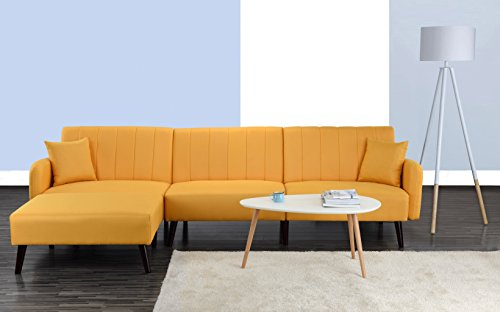 Divano Roma Furniture Mid Century Modern Style Linen Fabric Sleeper Futon Sofa, Living Room L Shape Sectional Couch with Reclining Backrest and Chaise Lounge (Yellow) ()