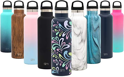 Simple Modern 24oz Ascent Water Bottle - Hydro Vacuum Insulated Tumbler Flask w/Handle Lid - Double Wall Stainless Steel Reusable - Leakproof Pattern: Floral Swirl ()