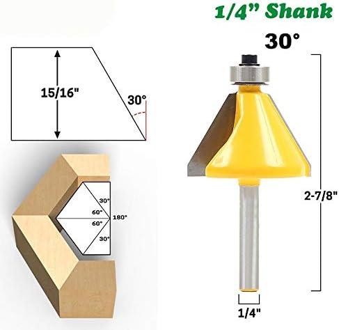 """NO LOGO ZZB-ZT, 1pc 1/4"""" 6.35mm Shank 30 Grad Fasen Fräser Holz Kantenbeschneiderads Fräser for Holz Holzbearbeitung (Size : 1pc 1/4"""" 6.35mm)"""