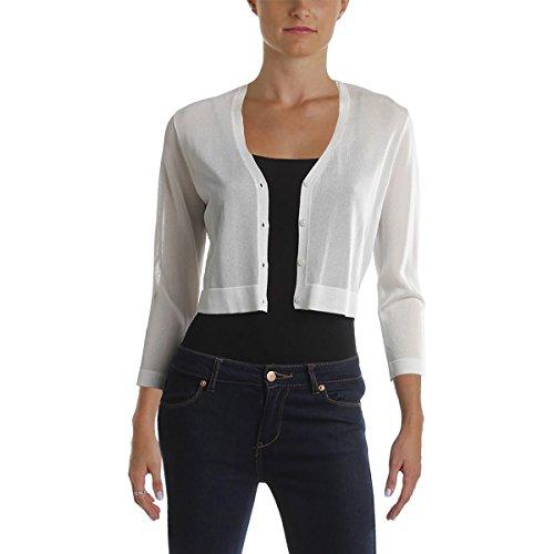 Lauren Ralph Lauren Womens Petites Matte Jersey Shrug Sweater White ()
