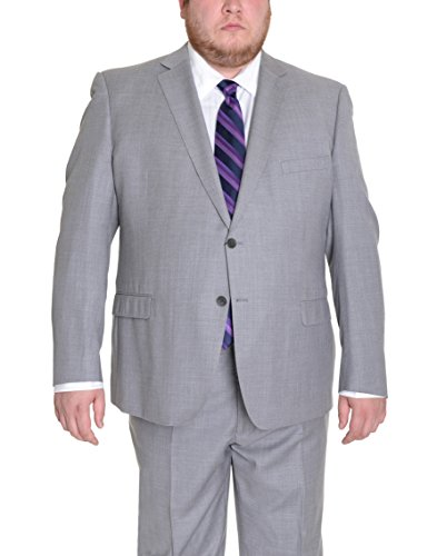 (Modern Fit Light Heather Gray Two Button Super 150's Wool Suit)