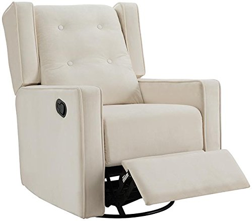 Naomi Home Odelia Swivel Rocker Recliner Cream/Microfiber Adult Club Glider Ottoman