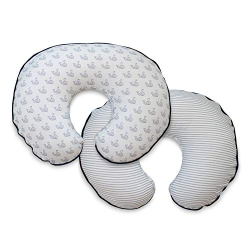 Boppy Organic Fabric Pillow Cover, Gray Little Whales, fashionable two-sided design, Fits ALL Boppy Nursing Pillows and ()