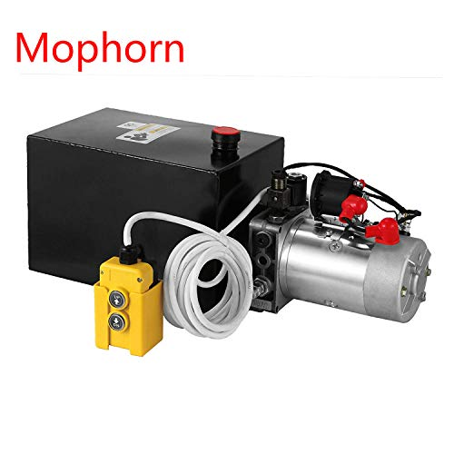 Mophorn Hydraulic Power Unit 8 Quart Pump Double Acting Hydraulic Power 12V DC Metal Reservoir Hydraulic Pump Power Unit for Dump Trailer Car Lifting (8 Quart Steel Double Acting)
