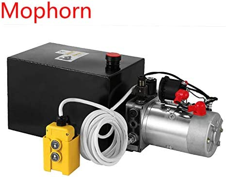 Mophorn hydraulic unit 8 quarter pump Double acting hydraulic power 12V DC metal reservoir Hydraulic pump unit for dump trailer car lifting (8 quarter gallon double acting)