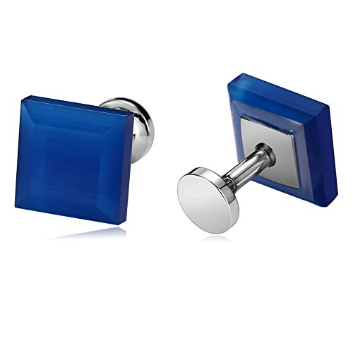 AmDxD Jewelry Stainless Steel Cuff Links for Men Square Blue (Duke Blue Devils Cufflinks)