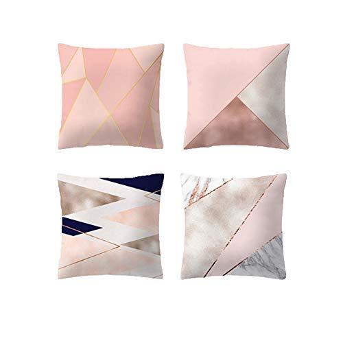 JUNGEN 4 pcs Funda de cojín del Serie Rosa con Impresión geométrica Funda de Almohada Cuadrado Funda de cojín Moderna Caso de Almohada para Decoracion ...
