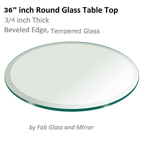 36'' Inch Round Glass Table Top 3/4'' Thick Tempered Beveled Edge by Fab Glass and Mirror by Fab Glass and Mirror