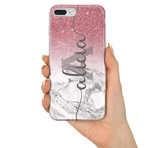 TULLUN Custom Champagne Rose Gold & Ombre Glitter Effect Printed Personalized Individual Initials Name Flexible Soft Gel Phone Case for iPhone - Name&Initials V1 - for iPhone 7/8