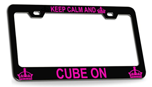 KEEP CALM AND CUBE ON Black Steel License Plate Frame Tag Holder