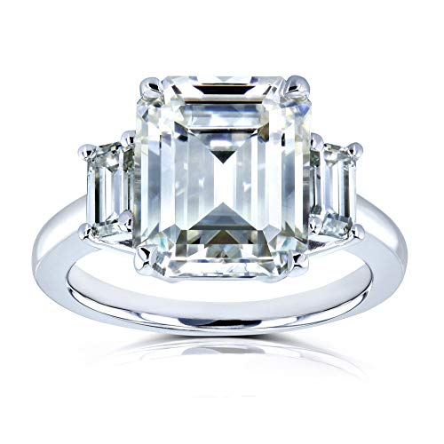 5 1/2 Carat TGW Three Stone Emerald Cut Moissanite Statement Engagement Ring in 14k White Gold - Size 5.5 from Kobelli