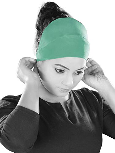MyBatua Al-Amira Elastic Head Band Crepe Under Hijab Cap Muslim Free Size Bonnet 1 piece, Sea Green