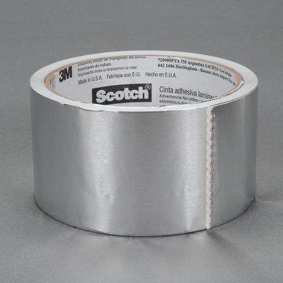 3M TAPES Scotch Aluminum Foil Tape, 3311, 2.83 In. W x 50 yd, Silver - 1028584